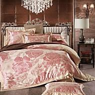 Simple Opulence 100% Cotton  Grey Satin Jacquard Silk Duvet Cover Set
