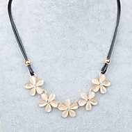 Women's pure sweet style five petals leather cord sweater Necklace opal necklace