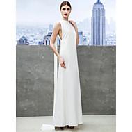 Formal Evening Dress - Ivory Sheath/Column Bateau Ankle-length Chiffon