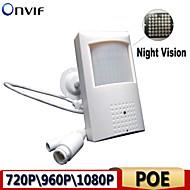 visione notturna 48pcs telecamere IP di POE 940nm led rete pir rivelatore di movimento telecamera nascosta costruito nel microfono 1080p \