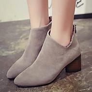 נעלי נשים - מגפיים - סוויד - מגפונים / שפיץ - שחור / חאקי - קז'ואל - עקב עבה