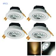 3W Встроенное освещение 3 Высокомощный LED 300 lm Тёплый белый / Холодный белый Декоративная AC 220-240 / AC 110-130 V 4 шт.
