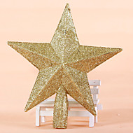 """2PCS/SET 20CM/8"""" Christmas Tree Ornaments Outdoor Decorations Golden Star New Year Party Supplies Stars Pendant"""