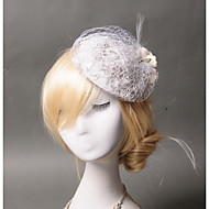 Women's Lace / Feather / Net Headpiece - Wedding / Special Occasion / Casual Fascinators 1 Piece