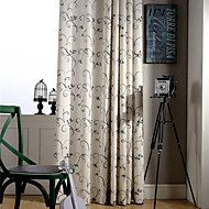 Country Curtains® Two Panels Green Vine Floral Linen Polyester Blend Curtain