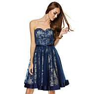 TS Couture Cocktail Party Dress - Dark Navy A-line Sweetheart Knee-length Tulle