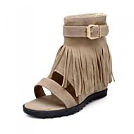 Sandály - Flís / Koženka - Na klínu / Otevřená špička / Módní boty - Dámská obuv - Černá / Červená / Béžová - Šaty / Běžné - Klín