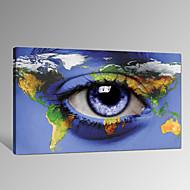 Hauskat / Moderni / Romantiikka / Pop Art Canvas Tulosta One Panel Valmis Hang , Horizontal