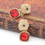 Women's Fashion Red Floral Earring 1pair
