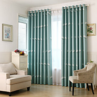 Two Panels Flower Blackout Printing Curtains Shades