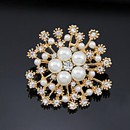 Lucky Doll  Rose Gold Plated Diamonade Zirconia Imitation Pearl Flower Brooch