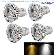 3W GU10 Lâmpadas de Foco de LED R63 3 LED de Alta Potência 200 lm Branco Quente / Branco Frio Regulável / Decorativa AC 85-265 V 4 pçs
