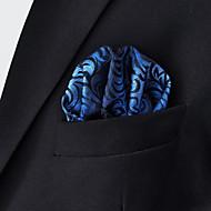 Men's Floral Blue Hanky 100% Silk Business Fashion Pocket Square