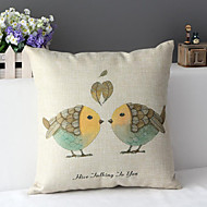 "43cm*43cm 17""*17"" Birds Cotton / Linen Cotton&linen Pillow Cover / Throw Pillow With No Insert"