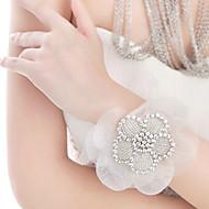 Bridal 's Rhinestone Lace Wedding Bracelet Wrist Flowers Chain 1 Piece