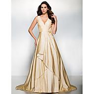저녁 정장파티 드레스 - 샴페인 A라인 스위프/브러쉬 트레인 V넥 태피터