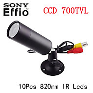 Sony Effio-e 700TVL CCD mini-bala outdoor invisível ir 10pcs leds 820 nm 0 lux da câmera de visão noturna cctv