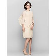 Lanting Sheath/Column Mother of the Bride Dress - Champagne Knee-length 3/4 Length Sleeve Chiffon