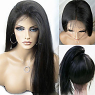 """10 """"-24"""" brasileño negro natural recto sedoso de la peluca llena del cordón del pelo virginal sin derramamiento pelucas de cabello humano"""