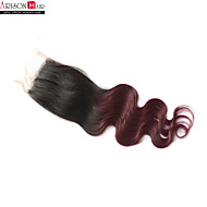 "1 Pc 14 Inch Swiss Lace Indian Hair Top Closure Natural Black Body Wave 4""x4"" Size Lace Closure"