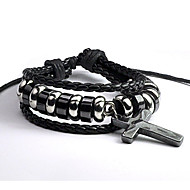 Men's Black Multilayer Leather Weave Adjustable Bracelet with Cross
