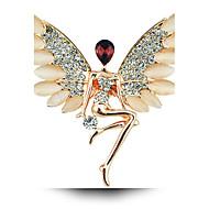 Angel Girl Crystal Opal Brooch Wings