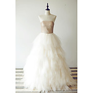 Formal Evening Dress - Champagne A-line Scoop Floor-length Tulle / Sequined