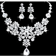 Lucky Doll Women's All Matching Silver Plated Zirconia Necklace & Earrings Jewelry Sets