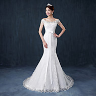 Trumpet/Mermaid Wedding Dress - White Court Train Off-the-shoulder Lace / Satin / Tulle