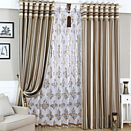 (Two Panels)Modern Stripe Jacquard Linen Polyester Blend Curtain(Sheer Not Included)