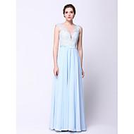 동창회 공식적인 저녁 드레스 - 푸른 하늘 - 라인 / 공주 BATEAU 바닥 길이 쉬폰