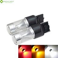 2 × T20 7440 w21w 30w 램프 12-24V 역 자동차 브레이크 빛 6xcree 흰색 / 빨강 / 노랑 / 차가운 백색 2100lm의 6500K