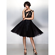 Cocktail Party Dress - Black A-line Scoop Knee-length Lace / Tulle