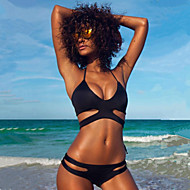 Kvinders Polyester Halterneck Ensfarvet Bikini Push-up