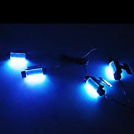 4 x 3 leds azules brillan decoración de neón lámpara de luz interior un coche