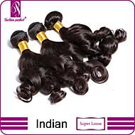 """3 stk / lot 8 """"-30"""" indian jomfruelige super løse hår extensions 100% ubehandlet jomfru menneskehår vævninger"""
