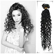 """1ks / lot 20 """"0,5 g-1 g / s brazilský panna vlasy kudrnaté vlasy, pre spojený tenatových zdarma extensiones de Cabello superior"""