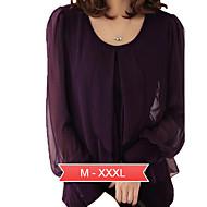 kvinners pluss størrelsen solid svart / lilla t-skjorte, uformell runde krage lang lykt ermet