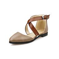Calçados Femininos - Sapatilhas - Conforto / Bico Fino - Rasteiro - Preto / Marrom / Bege - Courino -Casamento / Ar-Livre / Social /