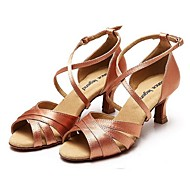 Non Customizable Women's Dance Shoes Latin Satin / Leather Flared Heel Black / Brown