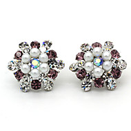 Women's Fashion Floral Pearl Rhinestones Earring 1pair