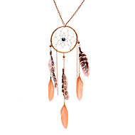 Ethnic Bead Dreamcatcher Feather  Leather Necklace