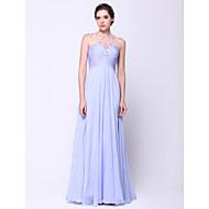 TS couture® 공식적인 저녁은 구슬 장식과 라인 특종 바닥 길이 쉬폰 / 얇은 명주 그물 드레스