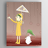 Stretched Canvas  Art Children Girl and Rabbit  Print  One Panel