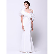 Formal Evening Dress Trumpet / Mermaid One Shoulder Court Train Organza with Ruffles