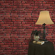 New Rainbow™Geometric Wallpaper Retro Wall Covering , PVC/Vinyl Waterproof Large Red Brick Wallpaper