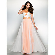 Formal Evening Dress-Orange / Ivory A-line Scoop Floor-length Chiffon / Tulle