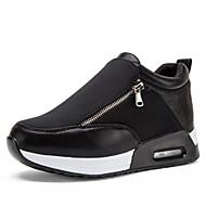 Damen-Sneaker-Outddor Lässig Sportlich-Kunstleder-Plateau Creepers-Plateau-Schwarz Rot