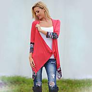 Women's Casual/Daily Simple Fall Shirt,Print Asymmetrical Long Sleeve Red Nylon Opaque