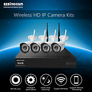Szsinocam®Waterproof 4CH 720P 1.0MP WIFI NVR Kits,No Need To Set, You Can  The Image,Support Mobile phone P2P.